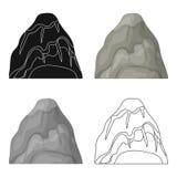 Montagne en pierre grise Une montagne en laquelle a extrait des minerais Les différentes montagnes choisissent l'icône dans le sy illustration stock
