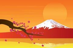 Montagne et Cherry Blossom de Fuji de coucher du soleil illustration stock