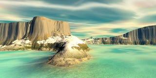 Montagne et eau illustration 3D images stock