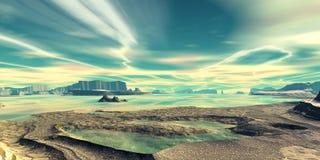 Montagne et eau illustration 3D photo stock
