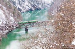 Montagne et neige du Japon avec le train local Image stock