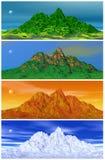 Montagne et quatre saisons illustration de vecteur