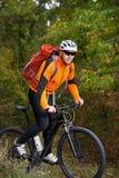 Montagne faisant du vélo en bas du journal Touriste avec le voyage de sac à dos sur le vélo Images libres de droits
