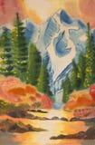 Montagne, fiume ed abete Fotografia Stock