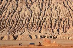 Montagne flamboyante à Turpan Photos libres de droits
