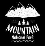 Montagne, illustration entièrement editable nationale de vecteur de parc Photos stock