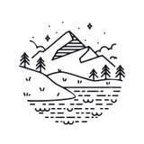 Montagne ispiratrici dell'illustrazione di vettore Fotografie Stock Libere da Diritti