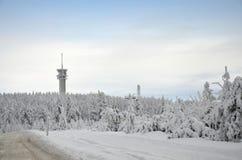 Montagne Klínovec del minerale metallifero nell'inverno Fotografie Stock Libere da Diritti