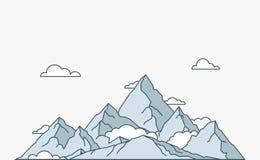 Montagne linéaire plate de style de nature et de voyage Photographie stock