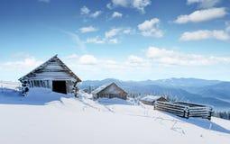 Montagne maestose del paesaggio misterioso di inverno nell'inverno Albero innevato di inverno magico Strada di inverno nelle mont Immagini Stock Libere da Diritti