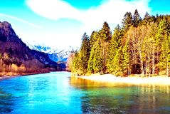 Montagne, mer et forêt photographie stock