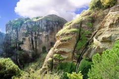 Montagne in Meteora, Grecia Fotografie Stock Libere da Diritti