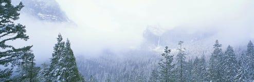Montagne nebbiose Fotografie Stock Libere da Diritti