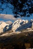 Montagne nel cattivo Mitterndorf tramonto delle alpi della Stiria Fotografie Stock
