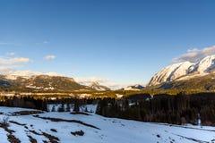 Montagne nel cattivo Mitterndorf tramonto delle alpi della Stiria Fotografie Stock Libere da Diritti