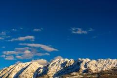 Montagne nel cattivo Mitterndorf tramonto delle alpi della Stiria Immagini Stock