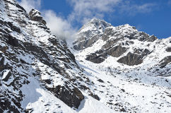 Montagne nel Nepal, trekking in Himalaya Fotografia Stock Libera da Diritti
