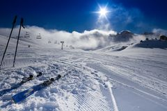 Montagne, nuvole, sport attivo Immagini Stock Libere da Diritti