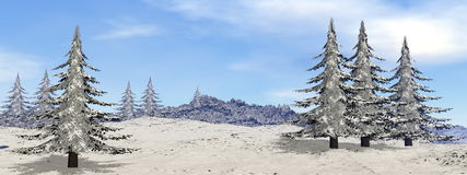 Montagne par l'hiver - 3D rendent Images stock
