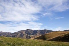 Montagne, pascolo e cielo blu Fotografie Stock