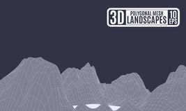 Montagne poligonali di astrazione porpora pallida illustrazione di stock