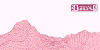 Montagne poligonali marrone rossiccio su un fondo rosa illustrazione vettoriale