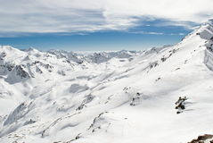 Montagne ricoperte neve Fotografia Stock