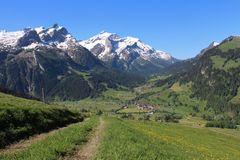 Montagne ricoperte neve e prato verde Fotografia Stock Libera da Diritti