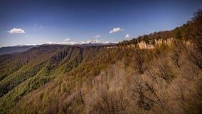 Montagne rocciose nel verde Immagine Stock