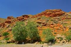 Montagne rocciose rosse vicino alla città di Tamasha Fotografia Stock