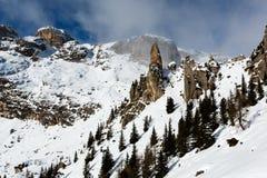 Montagne rocciose sulla stazione sciistica di Arabba Immagini Stock Libere da Diritti