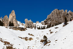 Montagne rocciose sulla stazione sciistica di Arabba Fotografia Stock Libera da Diritti