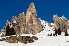 Montagne rocciose sulla stazione sciistica di Arabba Fotografie Stock Libere da Diritti