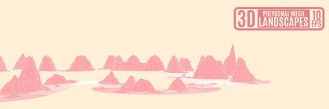 Montagne rosa su un'astrazione arancio del fondo per il advertisi illustrazione di stock