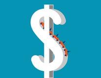 Montagne russe sul simbolo di dollaro che descrivono su e sui bassi dell'affare Fotografia Stock