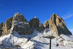 Montagne Sassolungo in Dolomiti, Italia Fotografia Stock