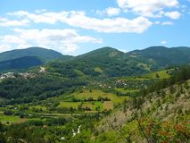 Montagne in Serbia, Mokra Gora, Drvengrad fotografie stock