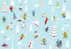 Montagne Ski Resort Seamless Pattern de bande dessinée Photo stock