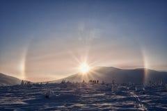 Montagne soleggiate di inverno di Gallo nei Urals Fotografia Stock Libera da Diritti