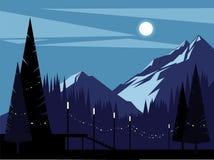 Montagne su una notte illuminata dalla luna Fondo illustrazione di stock