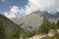 Montagne sur la ligne française-Italien Photographie stock libre de droits
