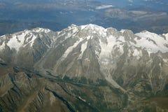 Montagne v aerea delle alpi della Francia della cima della montagna di Montblanc Mont Blanc Fotografie Stock Libere da Diritti