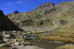 Montagne in valle di Tena, Pirenei Panticosa Immagini Stock