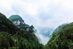 Montagne verdi con foschia Fotografia Stock