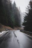 Montagne Vue supérieure dans la neige avec le brouillard, Alpes italiens Photographie stock libre de droits
