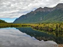 Montagnes à travers un lac mirror image libre de droits