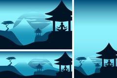 Montagnes asiatiques avec le temple et la méditation illustration stock