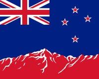 Montagnes avec l'indicateur de la Nouvelle Zélande illustration de vecteur