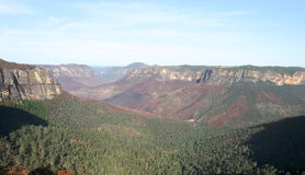 Montagnes bleues après le feu de brousse. l'Australie. Image libre de droits