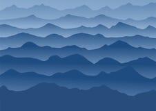 Montagnes bleues dans le brouillard Illustration de vecteur Photo stock